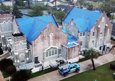 Church Roof Tarping After Storm Damage