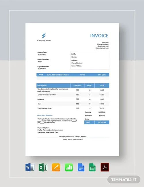 Free Roofing Estimate Template in Word